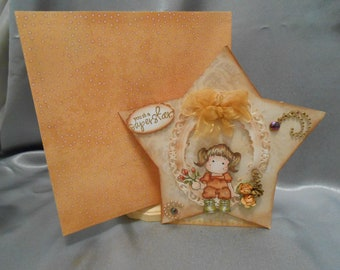 Handmade girl birthday card.