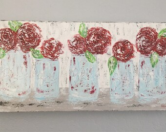 SALE- Floral Painting in Mason Jars, rose painting,farmhouse art, farmhouse decor, floral art