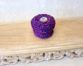 Crystal Flower Basket - Purple Lover Silk Tapestry Basket with Embellished Lid - Unique Valentine's, Mother's Day, Wedding Anniversary Gift