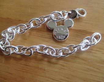 "Mickey Mouse Silver Bracelet 7"" Disney Fish Extender gift"