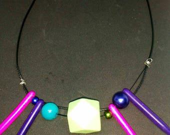 Colourful block bead choker