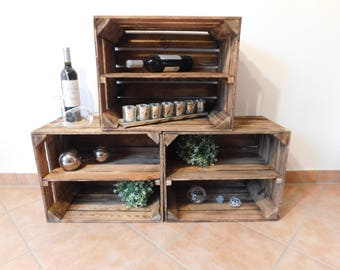 Flamed Fruit crates/wooden crates/apple crates with intermediate floor