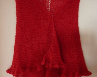 Red shawl, mohair, hand knitted