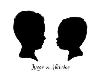 Custom Siblings Silhouette Portrait with Names | Siblings Profile Silhouette | Sisters Profile Silhouette | Brothers Silhouette Portrait