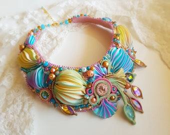 Shibori Necklace - Soutache Necklace - Soutache embroidery and Shibori ribbon necklace- Shibori ribbon bead embroidered