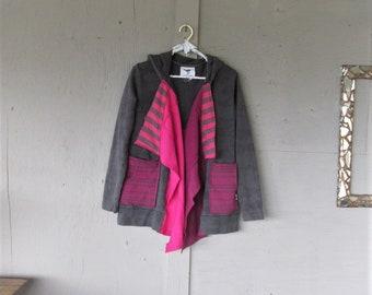 upcycled clothing rustic Hoodie spring Jacket X L repurposed Lagenlook Tunic wearable art Bohemian patchwork sweatshirt LillieNoraDryGoods