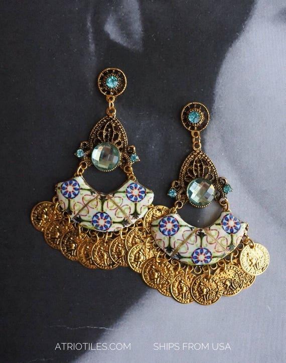 Earrings Bohemian Tile Portugal Antique Azulejo, Green -Majolica - Mosaic Tribal Turkish (see photos of actual Facade) - Ovar