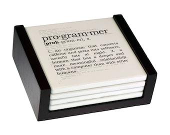 Programmer Definition Coaster Set - Sandstone Tile with Cork Back - 4 Piece Set -  Wood Box Caddy Included