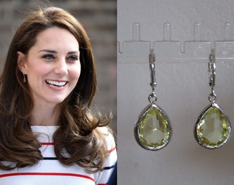Kate Middleton Duchess of Cambridge Inspired Replikate Tear Drop Citrine Lemon Quartz Silver Crystal Hoop Earrings