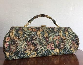 Vintage Floral Tapestry Clutch Purse