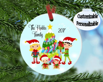 Personalized Family Christmas Ornament, Custom ornament, Personalized Ornament, Children's ornament, Family of 4, Create your own ornament