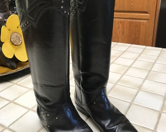 VTG Black Tall Leather Riding Boots With Crocodile Trim. Sandler Of Boston...Equestrian Boots  Sz 8B