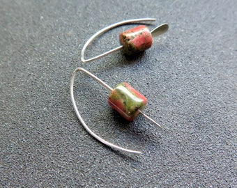 ON HOLD small green stone earrings. unakite jewelry. pink jewellery. Canadian seller.