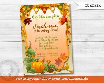 Our Little Pumpkin Birthday Invitation, Pumpkin Birthday Invitation, Fall Birthday Invitation.