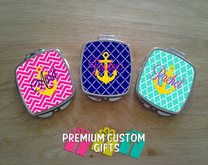 Personalized Set of 3 Compact Mirrors - Anchor - Bride - Bridal Party - Square Or Round Compacts Available - Pocket Mirrors Design#C106
