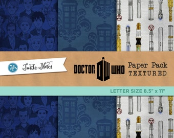Textured Dr. Who Letter Sized Paper Pack : 11 Printable Digital Scrapbook Paper with a Paper Texture