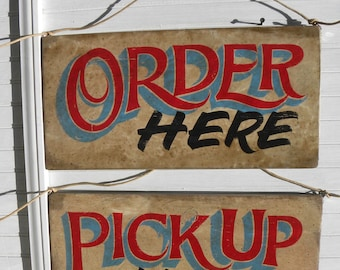 Order Here & Pickup Here Signs, hand painted, faux vintage, wooden sign