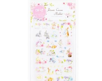 Adorable Korean bunnies & flowers Planner stickers