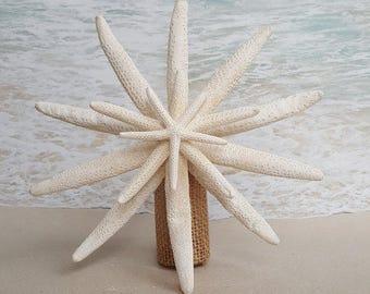 Starfish Tree Topper- Natural, Gold or Silver Glitter - Rustic Coastal Nautical Beach Christmas Ornament Xmas Sanddollar Beach Tropcial
