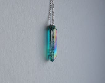 Necklace J Aqua aura quarts pointed necklace blue rainbow aura