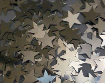 Set of 100 glitter stars scrapbooking 10 mm
