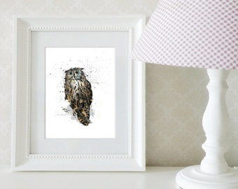 Owl illustration / Small formats / 5 x 7 and 8 x 10 / Decoration, room / Animals from the forest
