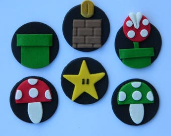 12 edible SUPER MARIO BROS disc game character cake decoration topper gumpaste sugarcraft birthday wedding anniversary engagement