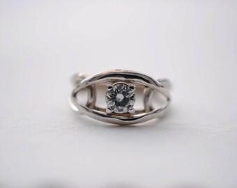 Single Moissanite Eye Engagement Ring in White Gold