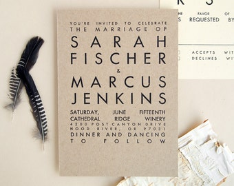 TORVA Rustic Wedding Invitation - Kraft Letterpress Invite Sample - Modern Typography