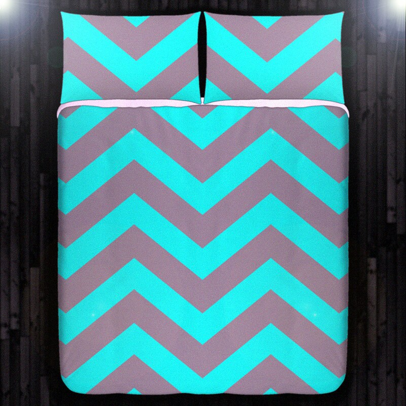 Turquoise Aqua Gray Chevron Duvet Cover Queen Comforter