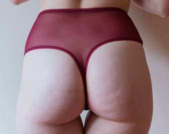 Burgundy High Waisted Thong - Sweet Tooth Lingerie