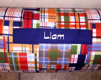 """Personalized Preschool / Kinder Nap Mat in Plaid with Pillow, Minky Blanket and 1""""memory foam"""