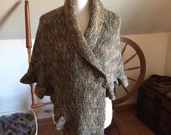 Hand-knit Merino Crepe Wool Shawl