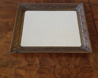 Vintage Mirror Tray, Antique Brass Metal,  Perfume Tray, Nail Polish Tray, Candle Tray, Dresser Tray, Platform Mirror