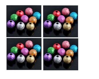 Set of 100 beads stradust multicolor acrylic 6 mm