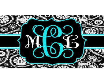 Personalized License Plate,  Monogrammed License Plate,  Auto Tag, Car Tag, Monogram, Paisley, Vine Monogram, Aqua, Lime, Mint, Pink