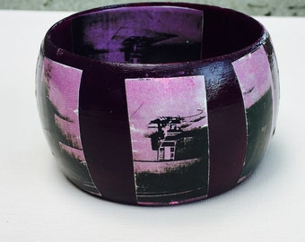Deep violet dome bangle with decoupage.detail from Andy Warhol's 'Lavender Disaster'
