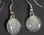 Holographic nail polish earrings silver glitter earrings glitter nail polish jewelry handmade silver earrings earings
