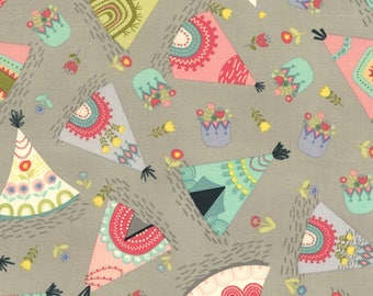 Grey Teepee Fabric-Alpaca Adventures-Timeless Treasures-Nursery Fabric-Baby Nursery Fabric-Tent Fabric-Native American Baby Quilt Fabric