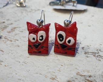Fusing glass, red cat earrings