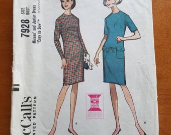 Vintage Dress 7928 McCalls Sewing Pattern 1960's Easy Size 16 Bust 36 Misses or Junior