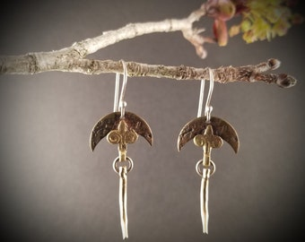 Mixed Metal Crescent Earrings