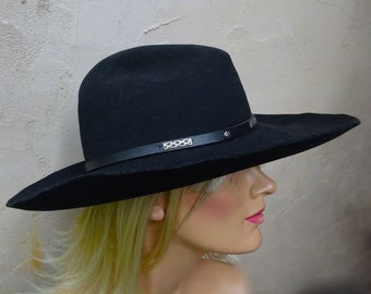 Vintage Black Cowboy Hat, Ranch King, Gus, 100% Wool, Leather Hat Band