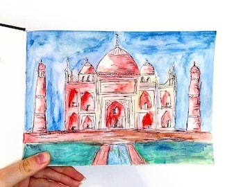 Taj Mahal Watercolour Illustration
