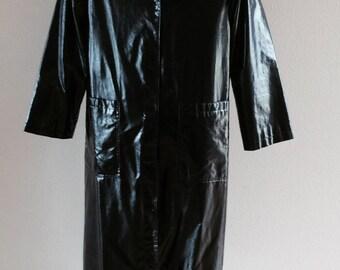 RTW Shiny Black Raincoat by Drizzle, Size 10