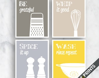 Funny Kitchen Art Print Set (Grater, Whisk, Spice, Wash) Set of 4 - Art Prints (Featured in Gravel, French Grey, Dolphin, Sunshine)