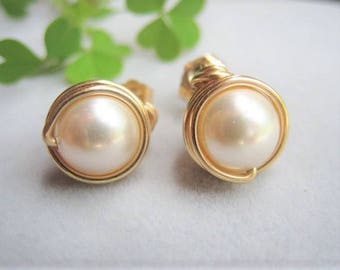 Pearl Stud Earrings, Wire wrapped, Swarovski Pearl,, Large Pearl, 14K gold filled or Sterling silver, Everyday jewelry, Bridesmaids gift