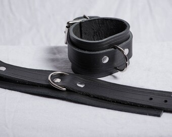 """Leather  Wrist Restraints with Line Accent - 2"""" Wide with 1"""" Buckling Strap and Single D-Ring"""