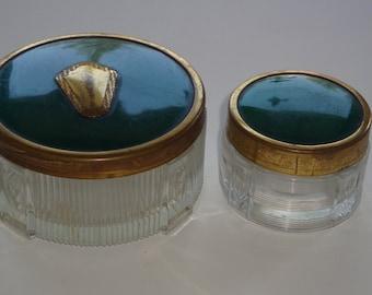 Vintage Art Deco Style Pressed Glass Vanity Set by Antoine
