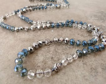 "Long Beaded Layering Necklace of Hand Knotted Crystals - ""West of Midnight"" - Item 1623"